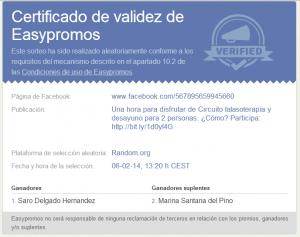 certificado ganador